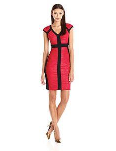 Jax Womens V-Neck Textured Knit Sheath Dress