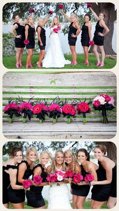 This is exactly what I want my bridesmaids to look like black dresses hot pink shoes and the flowers are what I want pink Gerber daisies and roses