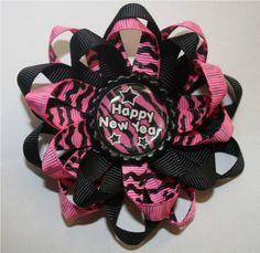 Happy New Year Pink Zebra Bottle Cap Hair Bow https://www.facebook.com/photo.php?fbid=10151260433888936=pb.279375088935.-2207520000.1366576605.=3