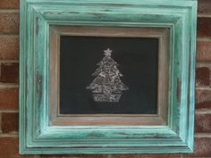 Made a chalkboard using a picture frame and applied a Verdigris paint technique