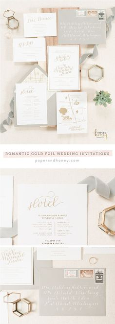 Romantic and simple gold foil wedding invitations by Paper & Honey (http://www.paperandhoney.com) / heirloom quality wedding stationery suites you'll show your grandchildren / as seen on Oh So Beautiful Paper / photo by Andrea Pesce Photography (http://www.andreapescephoto.com)