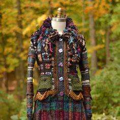 Pull manteau patchwork brun eco amicales vêtements par amberstudios
