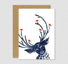 Cool Christmas Cards - Reindeer with birds - Dark Blue - Lino Print - cute funky xmas cards