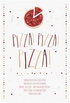 Pizza Pizza Pizza printable invitation template. Customize, add text and photos. Print, download, send online or order printed!