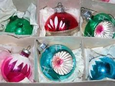 vintage 1960's christmas decorations - for the silver tree!