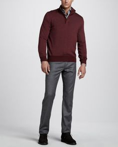 Merino Quarter-Zip Sweater, Mini-Check Sport Shirt & Five-Pocket Flannel Pants by Ermenegildo Zegna at Neiman Marcus.