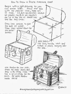 How To Draw A Pirate Treasure Chest Worksheet (How to Draw Worksheets for Young Artist) Drawing Lessons, Drawing Techniques, Doodle Drawings, Easy Drawings, Pirate Treasure Chest, Art Worksheets, Drawing For Kids, Teaching Art, Learn To Draw