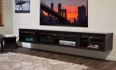 Rectangle Black Solid Wood Floating Entertainment Shelves Under ...