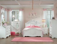 Jessica Cottage White Wood 4pc Bedroom Set W/Twin Panel Bed