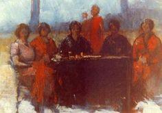Συνδαιτημόνες 2-Θεόφραστος Τριανταφυλλίδης (Σμύρνη 1885- Αθήνα 1955) Painting, Painting Art, Paintings
