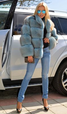 Pastel Blue Royal Saga FOX FUR Jacket Coat Clas OF Silver Sable Mink Poncho Vest | eBay