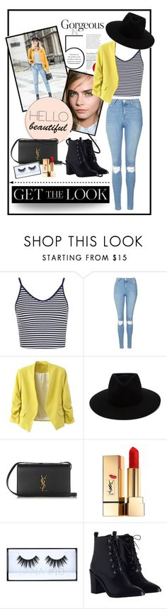 """Back to school; yellow jacket"" by heart4style ❤ liked on Polyvore featuring Topshop, rag & bone, Yves Saint Laurent, Huda Beauty and Zimmermann"