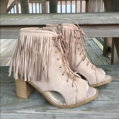 "〰HP〰•Peep Toe Fringe Booties• These chic ankle boots feature a peep toe silhouette/long fringe detail at ankle/side cutout design/and chunky stacked heel/finished with lightly cushioned insole and side zipper closure for easy on/off/vegan suede upper/heel height: 3.25""/shaft height: 7.25""(including heel)/top opening: 8""/new in box/price is firm/thanks for looking                                                                      ❌No Trades❌…"