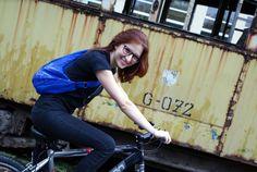 Cobalt Bike Bag Hand Painted BIke Art Bag with by KropkaDesign