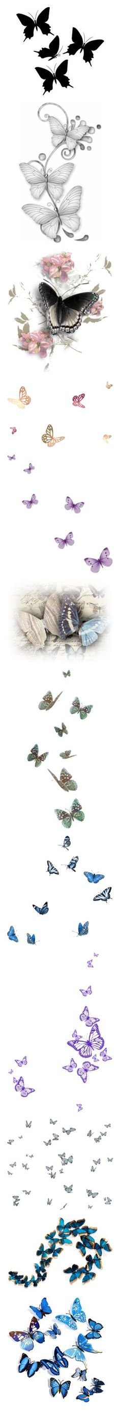 """Butterfly Fillers!"" by vahrendsen1988 ❤ liked on Polyvore featuring butterflies, backgrounds, animals, decorations, black, fillers, effects, flowers, embellish and borders"