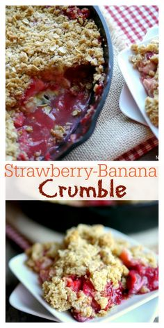 An irresistible Strawberry-Banana Crumble is the perfect celebration of a comforting, summer dessert. Serve it with a scoop of vanilla ice cream and watch everyone ask for a second helping.  #noblepig #crumble #strawberry #strawberrybanana  via @cmpollak1