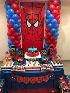 Spider-Man bday ideas for Ethan Spiderman Birthday Cake, Spiderman Theme, Avengers Birthday, Superhero Birthday Party, 4th Birthday Parties, Birthday Party Decorations, 5th Birthday, Fête Spider Man, Man Party