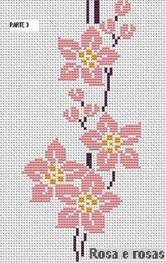 Here you can look and cross-stitch your own flowers. Cross Stitch Borders, Cross Stitch Flowers, Cross Stitch Designs, Cross Stitching, Cross Stitch Embroidery, Cross Stitch Patterns, Hand Embroidery Patterns, Beading Patterns, Embroidery Designs