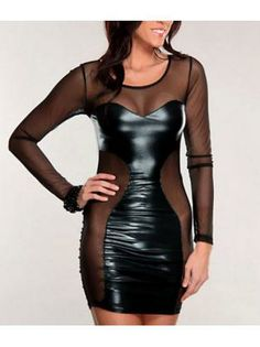 Special Long Sleeve Round Neck Mesh Splicing Club Dress