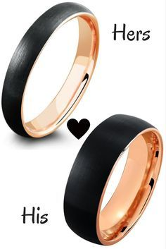 The perfect matching his and her wedding band set. Both wedding rings are crafted out of tungsten carbide. The top of rings are finished with a black textured finished. Lastly, the rings are designed with 18K rose gold interior.