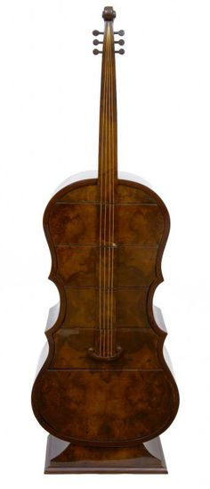 Deco Walnut Double Bass Chest Drawers Musical Instrument Furniture