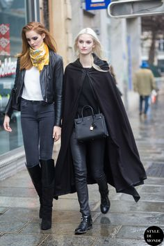 great cape (and the rest). #HelenaGreyhorse & #AlexinaGraham #offduty in Paris.