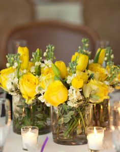 3 small groups with clear vases. Love the tight roses buds. Yellow Bouquets, Yellow Flowers, Yellow White Wedding, Yellow Centerpieces, Clear Vases, 50th Wedding Anniversary, Crafts To Do, Wedding Details, Wedding Styles