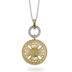 Obsessed with this!   Simon G. 18K white and yellow pendant with round white Diamonds.    Stye: MP1587
