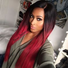 Ombre Hair Extensions Brazilian Remy Hair Silky Straight Wavy T1B/RED