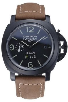 Mens Replica Panerai Luminor GMT Black Dial Ion Plated Stainless Steel Bezel Watch with Khaki Suede Leather Bracelet