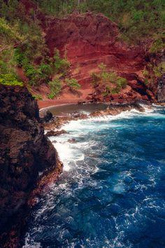 Red sand beach, Maui, Hawaii