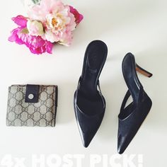 """🎉 GUCCI Leather Canvas Slip On Pump gucci  black leather canvas mid-heel slip on pump    ⠀† size 6½ c  ⠀† black leather & canvas  ⠀† leather sole & insole  ⠀† point toe  ⠀† side cutouts  ⠀† 2½"""" heel  ⠀† made in Italy  ⠀† box & dust bag not included  ⠀† preowned; good condition. there is sticky ⠀residue on the inner sole & outer of the shoe ⠀due to price tags. soles show wear.   host pick!   ⠀1.23.16  › date night  ⠀4.22.16 › classic chic  ⠀8.29.16 › back to campus style  ⠀10.10.16 › office…"""