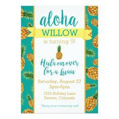 Aloha Pineapple Luau Birthday Invitation