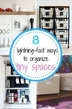 Really quick ways to organize the small, clutter filled areas of your home. You'll be done cleaning in no time!