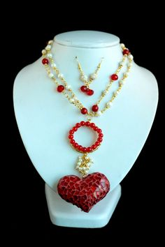 Collar de corazón rojo Red Necklace, Beaded Necklace, Earrings, Necklaces, Silver, Accessories, Beautiful, Jewelry, Bb
