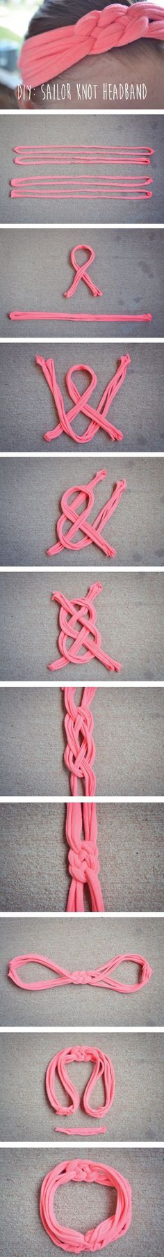 http://dailydorius.blogspot.com/2014/06/diy-01-knotted-sailor-headband.html  DIY: Sailor knot headband! This is super easy to make and the tutorial is easy to follow along. All you need is a pair of scissors and an old t-shirt!: