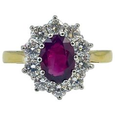 Preowned 1.04 Carat Ruby And 0.80 Carat Diamond Cluster Ring, 18 Carat... ($3,150) ❤ liked on Polyvore featuring jewelry, rings, engagement rings, multiple, gold wedding rings, cluster engagement rings, ruby engagement rings, yellow gold wedding rings and ruby wedding rings