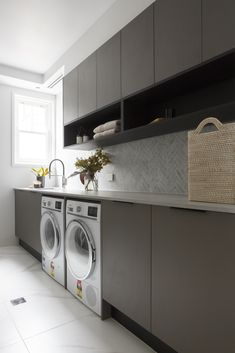 The Block 2018 Kerrie and Spence Apartment 1 Laundry featuring Caesarstone® Airy Concrete™. #laundry #laundryroom #laundryroomideas #designinspiration #interiordesign #interiordesignideas