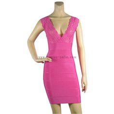 Herve Leger Rose Red V-neck Lace Summer Helena Fashion HL577RR