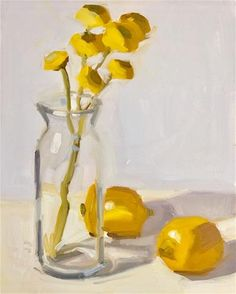 """Daily Paintworks - """"Yellow Flowers and Lemons"""" - Original Fine Art for Sale - © Jamie Stevens"""