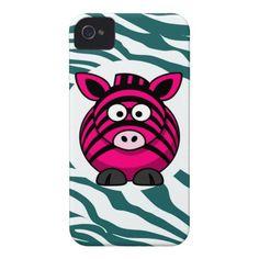 Pink Zebra on Aqua Teal Zebra Print Zoo Pattern iPhone 4 Case