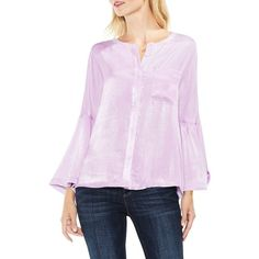 Women's Two By Vince Camuto Bell Sleeve Satin Shirt (€67) ❤ liked on Polyvore featuring tops, blouses, violette, two by vince camuto blouse, satin shirt, satin top, flared sleeve top and shirt blouse