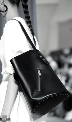 Studded leather bag, runway fashion details // Celine Spring 2016