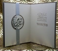 Tweet Thanks 2013 by the Crafty Cigale - interior.  (Ingredients: SU card stock: Crumb Cake and Very Vanilla, SU stamps: Curly Cute & Pursuit of Happiness text} & Serene Silhouettes,  SU Pewter embossing powder, Silver ribbon {bought in France}