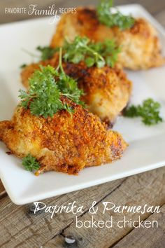 This Paprika and Parmesan Chicken is so tender and flavorful it doesn't need any kind of sauce or gravy. It could almost pass for fried chicken! #chicken #parmesanchicken