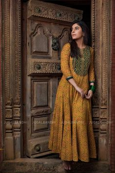 Ajrak cotton anarkali with hand embroidery Casual Indian Fashion, Indian Fashion Dresses, Dress Indian Style, Ethnic Fashion, Indian Outfits, Cotton Anarkali Dress, Cotton Gowns, Churidhar Designs, Fashion Illustration Dresses