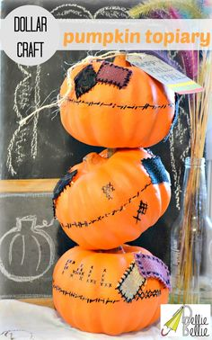 How to make a pumpkin tipsy topiary from #NellieBellie @Stacey McKenzie Dollar Tree