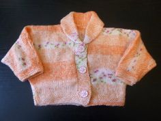 Handmade knitted baby girls multi coloured peach by BulldogKnits, £15.00