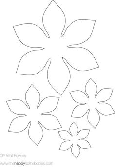 The Happy Homebodies: 2 Free DIY Modern Wall Art Printables! These would make great applique flowers for a quilt! Pattern : flower template-felt flowers for busy bag Risultati immagini per giant paper flower patterns I always liked these wallflowers Giant Paper Flowers, Diy Flowers, Fabric Flowers, Paper Flower Patterns, Paper Butterflies, Peony Flower, Flower Lei, Simple Flowers, Button Flowers