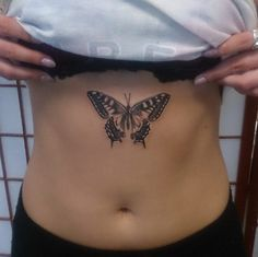 Butterfly Sternum Tattoo by Caps n Skulls